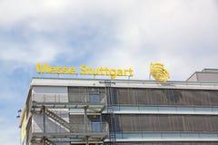 Trade fair Stuttgart, main building. Stuttgart, Germany - May 06, 2017: Trade fair Stuttgart - corporate logo at building facade Royalty Free Stock Image