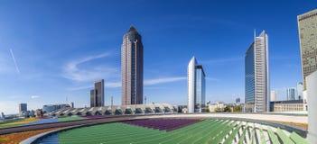 Trade Fair Tower Messeturm and the Marriott hotel next to Frankfurt Trade Fair Grounds stock photos