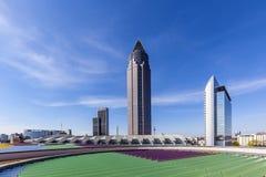 Trade Fair Tower Messeturm and the Marriott hotel next to Frankfurt Trade Fair Grounds royalty free stock photos