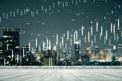 Trade and finance concept. Night city rooftop background with forex chart. Trade and finance concept. Double exposure stock photography