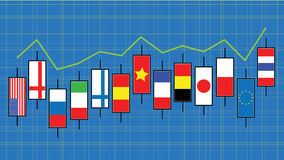 Trade with flag. Trade stock market with international flag on blue background Stock Photography