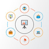 Trade Flat Icons Set. Collection Of Statistics, Pie Bar, Group And Other Elements. Also Includes Symbols Such As Circle. Trade Flat Icons Set. Collection Of Stock Photo
