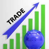 Trade Graph Shows Growth In Markets And Share Value Royalty Free Stock Photo