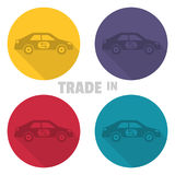 Trade in icons. Concept of an exchange of the car with surcharge Royalty Free Stock Images
