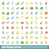 100 trade icons set, cartoon style Stock Image