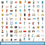 100trade icons set, cartoon style. 100 trade icons set in cartoon style for any design vector illustration Stock Images