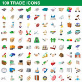 100 trade icons set, cartoon style. 100 trade icons set in cartoon style for any design vector illustration Royalty Free Stock Photography
