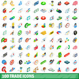 100 trade icons set, isometric 3d style Stock Images