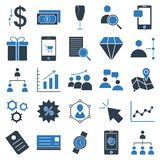 Trade Isolated Vector Icons set consist with building, graph, team, dollar, pie graph, shade, wallet, portfolio and calculator vector illustration