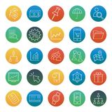 Trade Isolated Vector Icons set consist with building, graph, team, dollar, pie graph, shade, wallet, portfolio and calculator royalty free illustration
