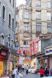 Trade Istanbul streets. ISTANBUL, TURKEY - May 1: Istanbul  narrow commerce streets in May 1st, 2015. Impressive number of tourist, visiting or making a deal Royalty Free Stock Photography