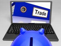 Trade Laptop Shows Internet Trading Stock Image