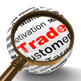 Trade Magnifier Definition Shows Stock Trading Or Sharing Royalty Free Stock Image