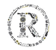 Trade Mark icone with auto parts for car Royalty Free Stock Photo