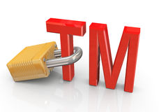 Trade mark with padlock Stock Photography