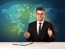 Trade market analyst is studio reporting world trading news with. Map concept on background royalty free stock photography