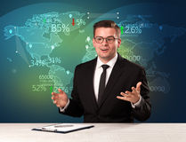 Trade market analyst is studio reporting world trading news with. Map concept on background stock photography