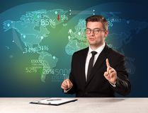 Trade market analyst is studio reporting world trading news with map concept. On background stock photo