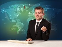 Trade market analyst is studio reporting world trading news with. Map concept on background royalty free stock photo