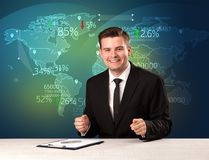 Trade market analyst is studio reporting world trading news with. Map concept on background stock images