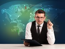 Trade market analyst is studio reporting world trading news with. Map concept on background royalty free stock images