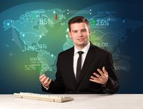 Trade market analyst is studio reporting world trading news with. Map concept on background royalty free stock photos
