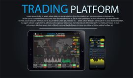 Trade market. Binary option. Set web flat Infographic elements, map, diagram, hand with phone tablet laptop. HUD UI for business a. Trade market. Binary option Royalty Free Stock Photography