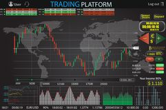 Trade market Binary option world . Set web flat Infographic elements, map, diagrams. Abstract virtual graphic. stock illustration