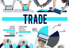 Trade Marketing Commerce Stock Market Sales Concept Royalty Free Stock Images