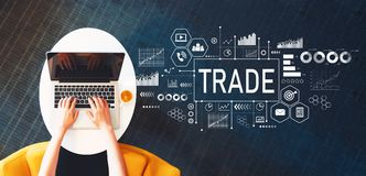 Trade with person using a laptop Royalty Free Stock Photos