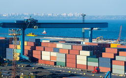 Trade port  with containers Royalty Free Stock Photography