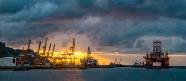 Trade Port at sunrise-panorama Stock Photos