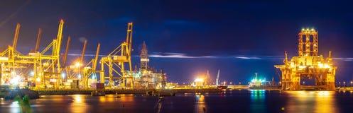 Trade Port at sunrise-panorama Stock Photography