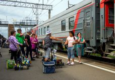 Trade in products on the platform of the railway station Petrozavodsk Royalty Free Stock Photo