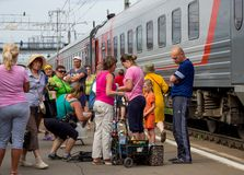 Trade in products from trains at the railway station Petrozavodsk Royalty Free Stock Photos