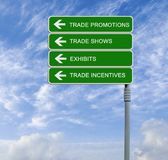 Trade Promotions. Road signs to Trade Promotions Stock Image