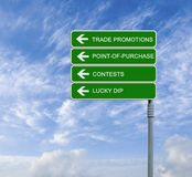 Trade Promotions. Road signs to Trade Promotions Royalty Free Stock Photo