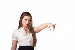 Trade representative. Girl pokazіvaet logo Stock Photography