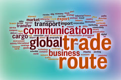 Trade route word cloud with abstract background Stock Images
