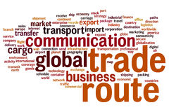 Trade route word cloud Royalty Free Stock Image