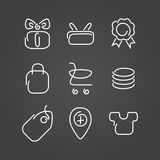 Trade sale set icons draw effect Stock Photo