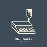 Trade scales vector flat line icons. Retail store supplies, trade shop equipment sign. Commercial object thin linear Royalty Free Stock Photo