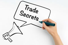 Trade Secrets. Megaphone and text on a white background Stock Photography