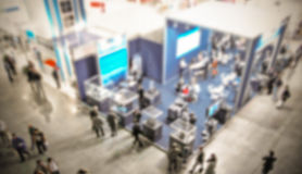 Trade show background with an intentional blur effect applied Stock Photo