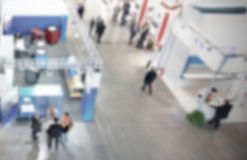 Trade show background with an intentional blur effect applied Stock Photography