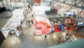 Trade show background with an intentional blur effect applied Royalty Free Stock Photo