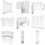Trade show booth set. Floor Stands Collection. Stock Photo