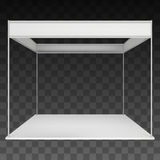 Trade Show Booth White and Blank. Blank Indoor Exhibition with Work Paths. Vector on black transparent background. Ad Template for your Expo design Stock Photography