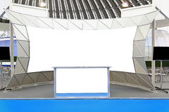 Trade show display. Fair trade show couner and backdrop empty space stock images