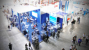Trade show, intentionally blurred background Royalty Free Stock Photo